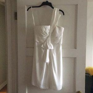 BCBGMAXAZRIA white one-shoulder dress